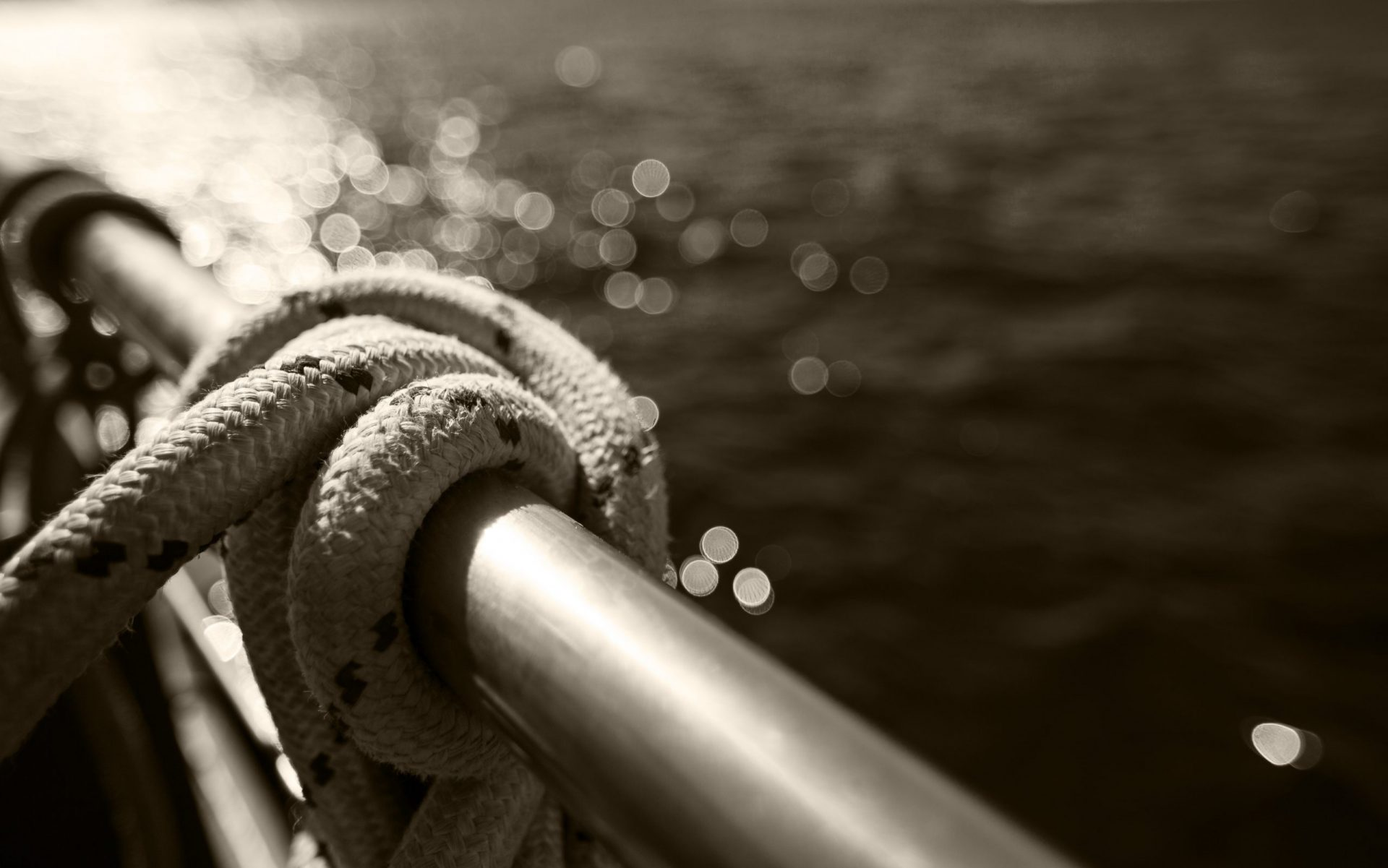 Sailboat rope, yacht detail. Yachting